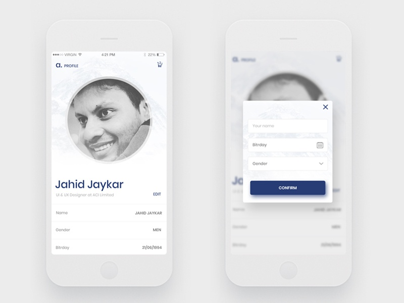 Profile Page application design profile design app uiux ui kit ux design ui design