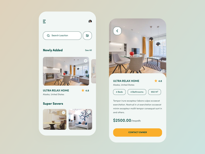 House Rental App UI minimalist house rental visual design mobile app design ios app application ux ui