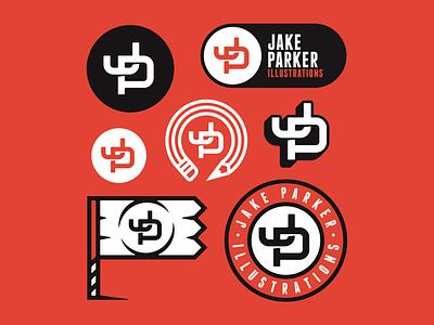 Jake Parker - Brand Collection vanguarddesignco graphicdesigner monogramlogo logoinspirations lettermark monogram jp flag jakeparker badgedesign badge brandingdesign brandlogo branddesign branding logodesigner logodesign logo