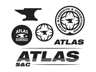 Atlas S+C Collection logotype thicktype thicktext vanguarddesignco brandidentity logodesigner logodesign gym fitness strength anvil globe atlas brandlogo branding branddesign