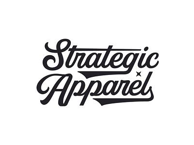 Strategic Apparel apparel merch designer merch design merch brand design brand designer brand logo branding design logo type script type design typography custom type logotype type branding vanguarddesignco logo