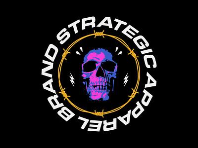 Strategic Skull Series Badge vanguard strategic skate merch designer barbed wire neon tee skull merch design apparel merchandise merch brand logo badge design badgedesign badge design logodesign branding logo