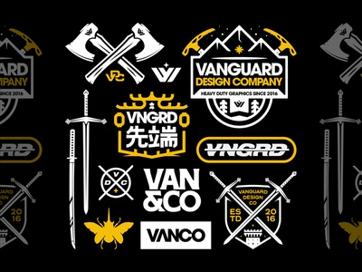 Vanguard Brand Bundle design apparel merch vanguard identity brand identity flash logo design outdoors mountain sword patch badge typography designer brand logo branding brand logo