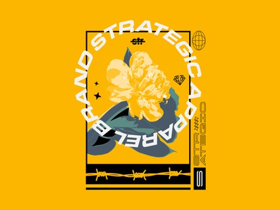 Strategic Flower Tee Design vanguard tough typography type logotype young bold skate strategic shirt tee shirt tee rose flower apparel merch illustration illustrator branding