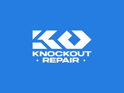 Knockout Repair Logo vanguard identity brand identity logo designer logodesign letters letter monogram lettermark custom typography type logotype branding brand logo