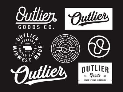 Outlier Goods Co vintage vanguard logodesign brand logo brand design identity brand identity merch apparel patch badge custom letters typography type logotype branding brand logo
