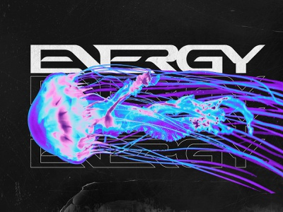 ENERGY graphic vanguard logotype custom lettering type typography wordmark jellyfish metalcore metal punk street apparel merchandise merch branding brand