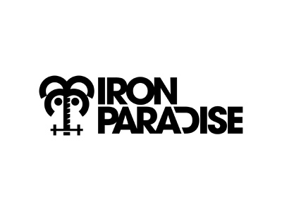 Iron Paradise wordmark logotype text vanguard iron palm logodesign clean gym bold identity brand identity branding brand logos logo