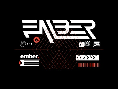 EMBER Wordmark + Extras vanguard logotype wordmark type typography bold skate punk metal rock apparel merch identity brand identity branding brand logos logo design logo