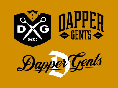 Dapper Gents Brand Bundle kit bundle barber vanguard logotype lettering wordmark typography vintage modern strong bold apparel merch identity branding brand logos logo