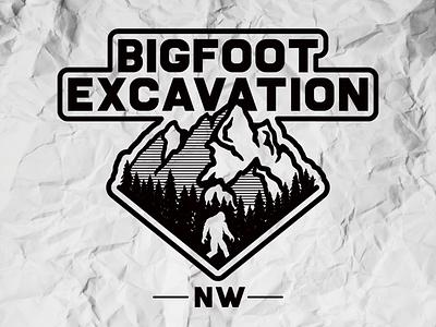 Bigfoot Excavation NW white black excavation bigfoot mountain outdoors outdoor badge design logo