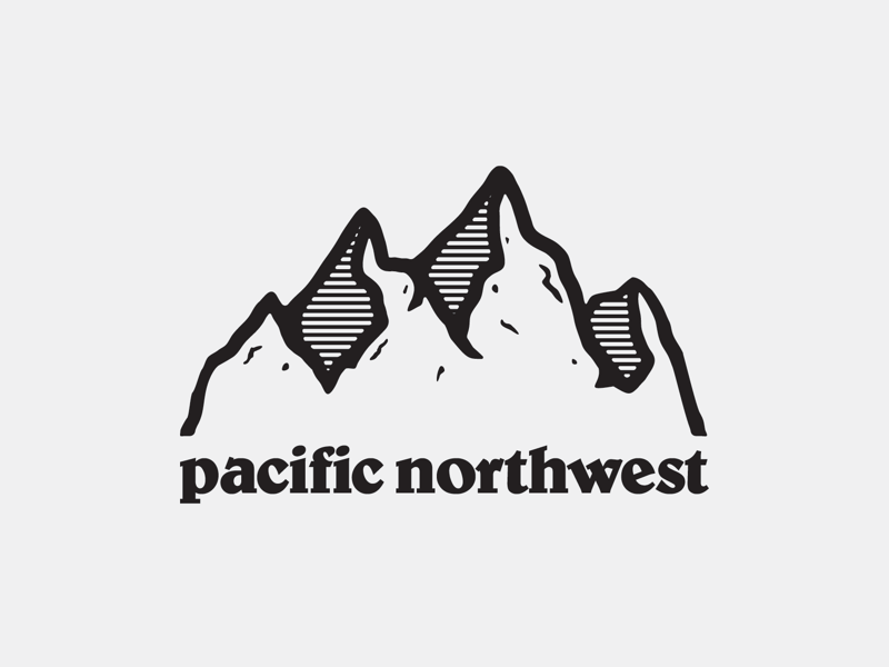 Pacific Northwest logobrand merchdesign vanguarddesignco mountaindesign naturelogo nature mountainlogo patagonia pacificnorthwest pacific pnw mountain branding logo