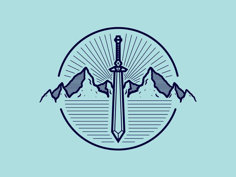 Sword & Mountains logodesign illustrator mountainbadge adobeillustrator outdoorbadge vanguarddesignco badgedesign branding logo mountain sword badge