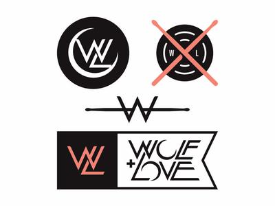 Wolf + Love Full Collection bandmerch banddesign bandlogo logoinspirations logoconcept branddesigner branding brandlogo brandidentity vanguarddesignco logodesigner badgedesign logodesign badge logo