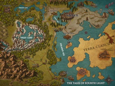 The Tales of Fourth Light - Fantastic Novel Map Designs
