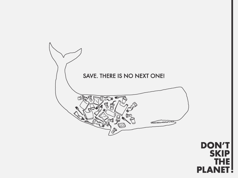 Don't Skip The Planet! - Conceptual Climate Change Poster independent design factory wild life doodle art trash plastic whale pollution ocean life global warming climate change greenpeace wwf doodle illustration poster idesignf modern artwork abstract design