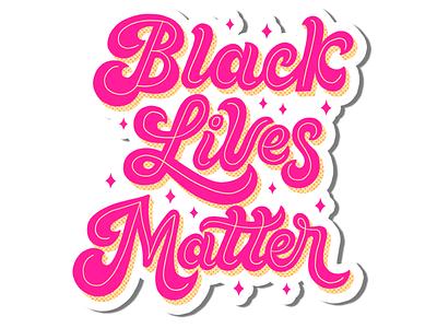 Black Lives Matter Sticker 70s script script lettering hand lettering art sticker making stickermaker hand lettering justice peace love antiracism anti-racist blm black lives matter sticker