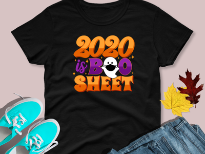 2020 is Boo Sheet T-shirt and Sticker apparel i love halloween i love halloween illustration hand drawn type hand lettering 2020 mask ghost happy halloween halloween 2020 is boo sheet water bottle decal laptop decal sticker shop sticker tshirt