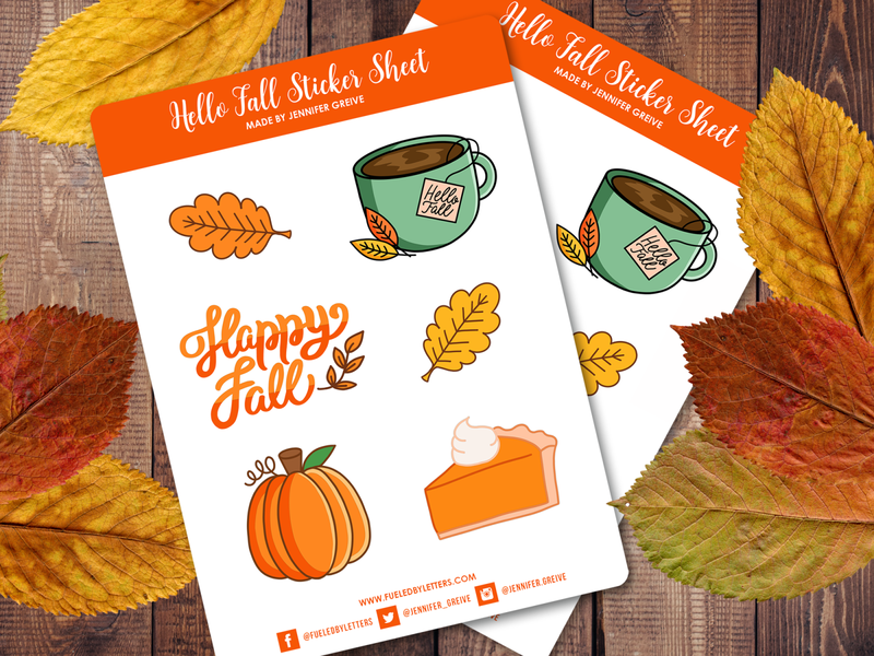 Hello Fall Sticker Sheets hello fall happy fall coffee pumpkin pie pumpkin waterproof stickers fall leaves autumn fall hand lettering illustration stickers sticker sheet
