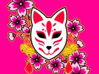 Kitsune Mask with Sakura Flowers