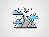 Mountain, Moon and Stars Illustration Icon