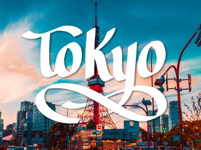 Tokyo hand drawn type type design typogaphy photoshop brush chisel brush script lettering modern lettering hand lettering art hand lettering japan tokyo
