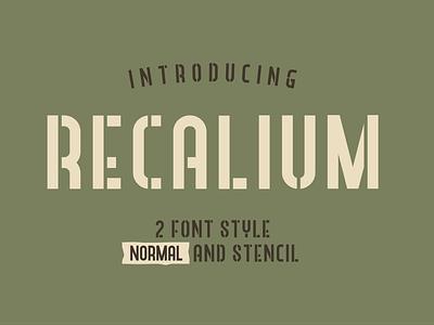 Recalium Stencil handwriting type logo illustration signature lettering classic vintage typography font