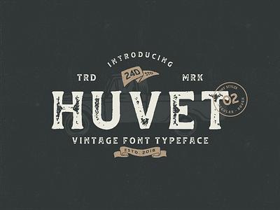 Huvet Typeface classic vintage rough rustic masculine typography illustration design logo signature script font