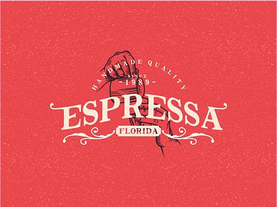Espressa classic retro vintage sans slabserif fontaid roaster cup illustrations coffee