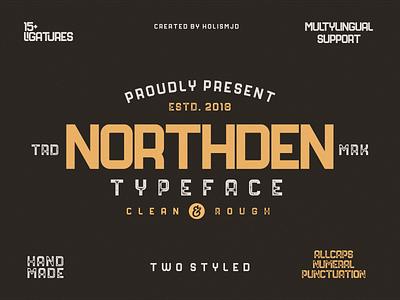 Northden Font | Industrial Font calligraphy lettering typography bold slab serif sans serif display badge vintage industrual logo font