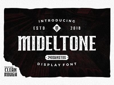 Mideltone vintage logotype dark theme typeface tshirt blackletter typography lettering font