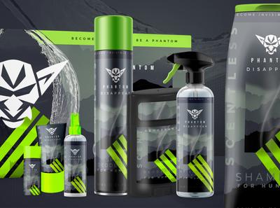 Phantom Elixirs Packaging brand design clean manly cosmetic logodesign black green color branding print package design packaging