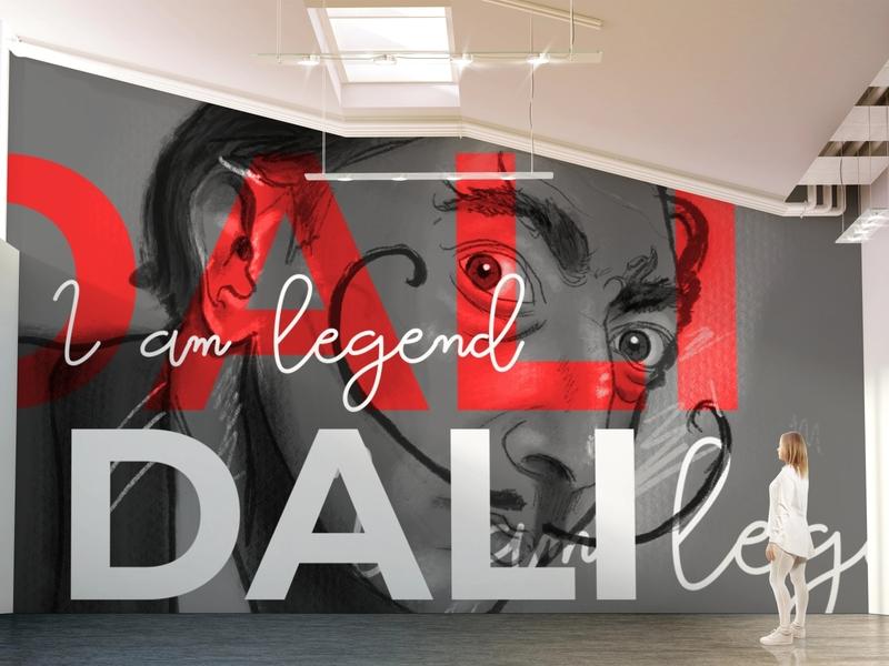 Conceptual Wall Art - Salvador Dali large format printing graphic design conceptual illustration graffiti art graffitti wall art fanart color