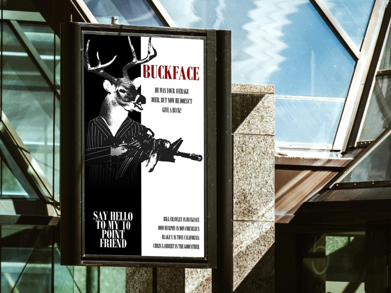 """Pre-Launch Film Festival  """"Scarface"""" Parody Poster film film festival parody deer poster hunting movie poster posterdesign funny"""
