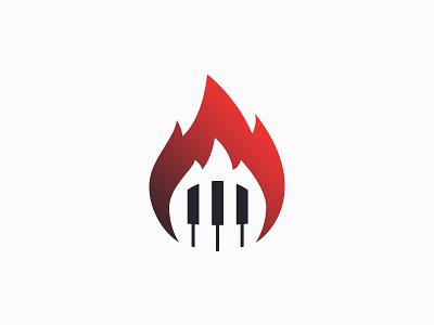 Boogie Woogie Pianist, Mr. Firehand piano keys pianist piano flame burn fire mr. firehand logo