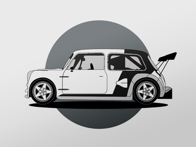 Drawing a Mini Cooper just for fun freetime mini cooper car vector draw practice exercise