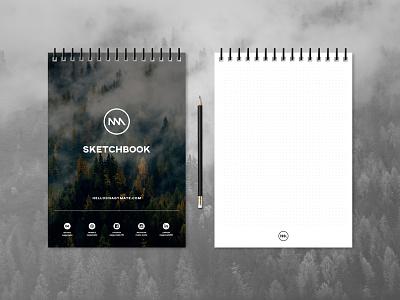 Branded sketchbook self-designed own-made sketches mate nagy booklet social a4 dotted sketchbook