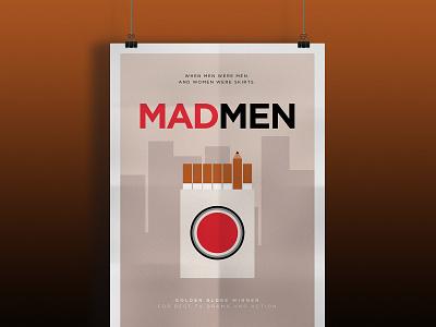 Minimal Mad Men 2d vector just for fun digital art illustration tv pencil art cigarettes strike lucky minimal advertising cinema poster movie series mad men