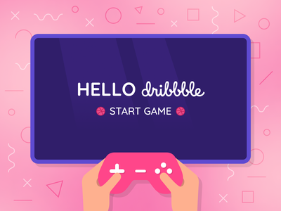 Hello dribbble 🎮 hello hello dribbble games illustrator flat minimal vector ui illustration design