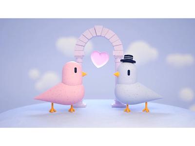 Arranged marriages lovebirds wedding love marriage birds cinema 4d octanerender octane colour tv news motion graphics after effects animation