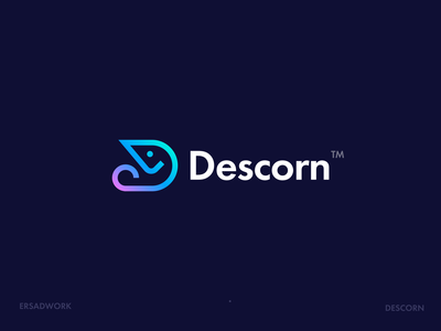 Descorn Logo Design logo type unicorns logotype branding logo logos pink logo logo design pink blue descorn d logo unicorn d letter
