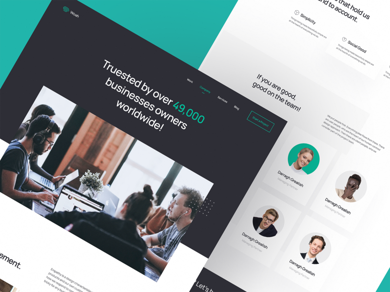 Agency Company Page business interface user interface user experience company company page agency landing page agency website agency website design website landing page landing web ux ui typography design