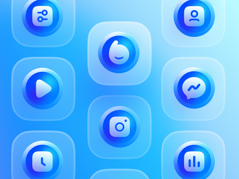 Blue Icon Set / V2 userinterface user experience bluereceipt blue static icon design iconography icon set icons icon profile statics clock instagram play messenger setting typography design