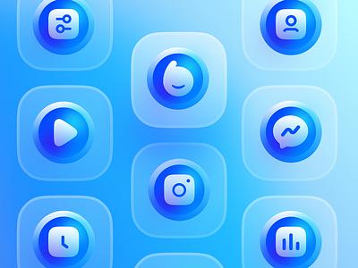 Blue Icon Set / V2 userinterface user experience bluereceipt blue static icon design iconography icon set icons icon profile statics clock instagram play messenger setting typography design