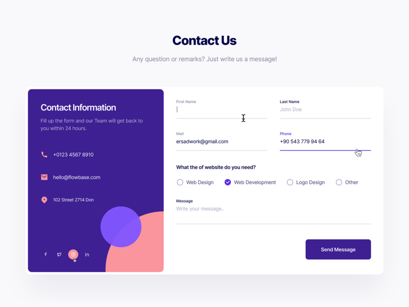 Contact Form 01 pink orange information form field forms form contact page contact us contacts contact contact form ui ux typography design