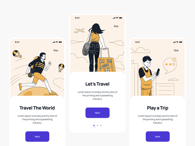 Travel Mobil App / Onboarding purple orange app design application mobile app design mobile design mobile app mobile ui mobile onboarding illustration onboarding screens onboard online onboarding screen onboarding ui travel onboarding