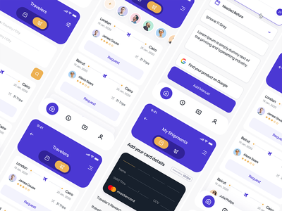 Travel Mobil App / All Pages application design application ui light mode purple travel app design app mobil app mobile app design mobile design mobile ui mobile app mobile ui ux typography design