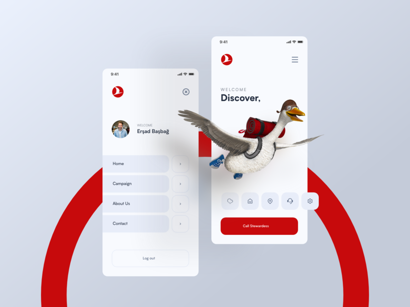 01-Daily UI / Turkish Airlines Mobil App user interface user experience bird vector airlines fly app design web design typography ui design ux