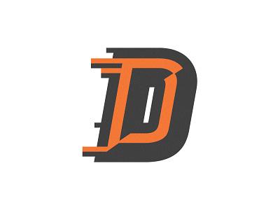 Fast D bevel typography letter