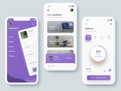 Smart Home App concept smart home app purple cleanui smarthome app app design ux ui dailyui minimalist